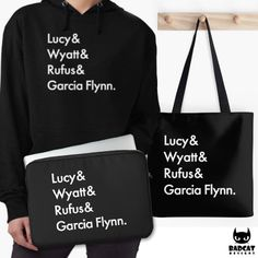 'Characters' Names' design inspired by the the time travel Tv Show 'Timeless': Lucy & Wyatt & Rufus & Garcia Flynn. #Timeless #Hoodie #LaptopCase #ToteBag