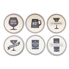 Izola Happy Hour Coasters $15 for 6: These coaster set the scene for a party and let the bartender take a break -- each one has a drink recipe on the back.