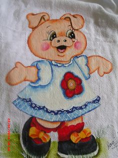 Tole Painting, Fabric Painting, Embroidery Applique, Embroidery Patterns, Pig Drawing, Pig Illustration, Christmas Crafts For Gifts, This Little Piggy, Cute Pigs