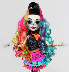 Custom Skelita Monster High re-root hair design by Denisa Medrano
