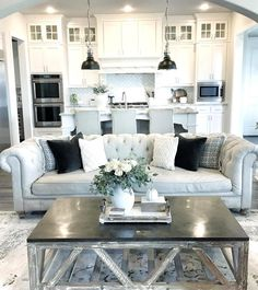 COTE DE TEXAS: 2017–Trends in Interior Design Great example of a small open space kitchen & living room all looking harmonious and seemless