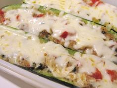 Zucchini boats - this looks like a good base recipe.  It seems like you could add anything you like to the zucchini stuffing to make it your own.  I think it needs mushrooms! Mmm!