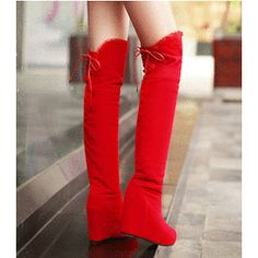 393s150 Sexy high-heeled knee-high boot with flock pu leather, lace u back, size 34-39, red for R680.00