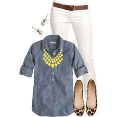 ||Chambray||white jeans||bold statement necklace