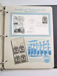 Postage Stamps Book 28 pgs 1958 First Day Issue Stamps Stationery Journalism