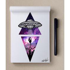 No photo description available. Galaxy Painting, Galaxy Art, Art Galaxie, Art Alien, Art Du Croquis, Alien Tattoo, Doodle Art, Cute Drawings, Body Art Tattoos