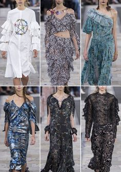 Patternbank found themselves spellbound at Preen by Thornton Bregazzi's SS17 London show, a collection entwined with mythical spells, nature and astrology including some beautiful flower printed dresses. The models were adorned with floral creations, leaves and ferns, a collaboration with make up artist Val Garland and florist Flora Starkey.
