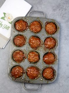 Overhead shot of Meatloaf Muffins in the muffin pan.