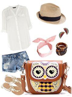 fashion Cartoon Owl Floral Print Shoulder Bag I have this bag in blue. <3