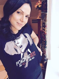 Awesome Lana wearing her awesome new Poaching Sucks T-Shirt #Once #BTS either in her awesome trailer #StanleyPark #StevestonVillage #Richmond or in her awesome house Vancouver BC Saturday 10-3-15