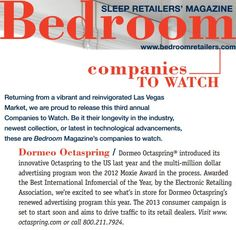 """Octaspring is one of Bedroom Magazine's """"Companies to Watch in 2013"""". #MemoryFoamSpring    http://octaspring.com"""