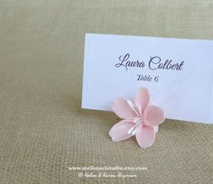 So cute! But a bit expensive... Place Card Holders - 50 Handmade Cold Porcelain Cherry Blossoms