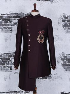 Shop Designer maroon terry rayon indo western online from Mens Indian Wear, Indian Groom Wear, Indian Men Fashion, Mens Fashion Suits, Wedding Dresses Men Indian, Wedding Dress Men, Gents Wedding Suits, Designer Suits For Men, Indian Designer Wear