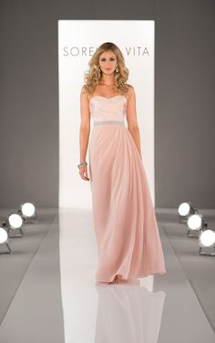 Strapless floor length Sorella Vita bridesmaid dress featuring a pleated Satin bodice, a soft Chiffon skirt, and a 1