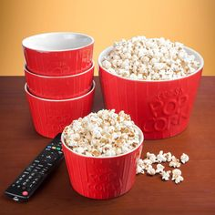 HomeWetBar Couch Time Ceramic Popcorn Bowl Set ($26) ❤ liked on Polyvore featuring home and kitchen & dining