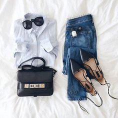 The perfect way to style a button down. #outfitinspo : /thepinkdiary/ // Follow /ShopStyle/ on Instagram to shop this look