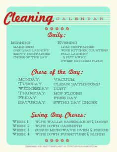 chore homemaking chart - How ideal would this be>?  Realistic... not really.