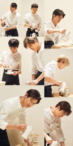Exo lovely coffee made by themselfs Chanbaek, Exo Ot12, Baekhyun Chanyeol, Exo Kai, Exo Album, Exo Official, Exo Group, Exo Lockscreen, Exo Memes