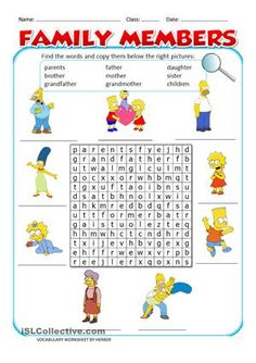 Wordsearch on The Simpsons family members. - ESL worksheets