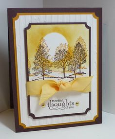 Stampin' Up!  handmade Thanksgiving card from  Me, My Stamps and I .... luv the sponged Autumn sky background ... Lovely as a Tree stamped and stamped off  for depth ... lots of layers with ticket puch corners ... great card!