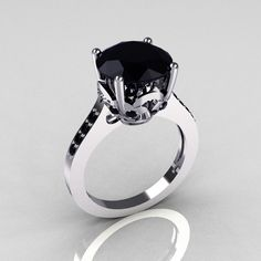 Classic 14K White Gold 3.5 Carat Black Diamond Solitaire Wedding Ring R301-14WGDBLL. $849.00, via Etsy.