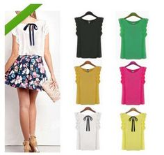 Sleeveless Loose Fashion Women Chiffon Bow Tops Blouse T Shirt Casual Vest Tank | Clothing, Shoes & Accessories, Women's Clothing, Tops & Blouses | eBay!