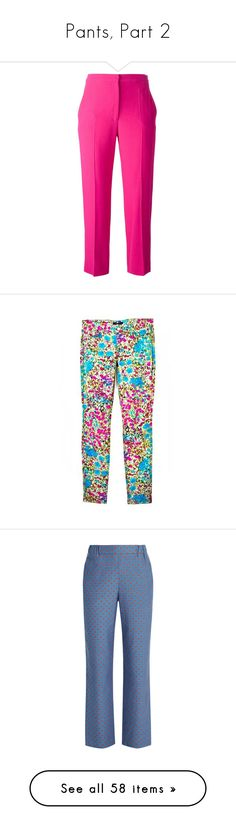 """""""Pants, Part 2"""" by dickensfan ❤ liked on Polyvore featuring trousers, pants, slacks, capris, bottoms, pink, pink crop pants, cropped capri pants, silk pants and silk cropped pants"""
