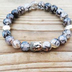 Buddha Bracelet Zen Wrist Mala Grey Dragon by BohemianChicbead