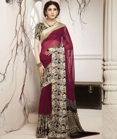 Buy Magenta Georgette Printed Saree With Blouse 75122 with blouse online at…