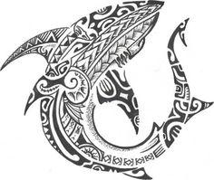 Tribal Hammerhead Shark Tattoo Stencil · Polynesian And Tribal Shark Tattoo Stencil