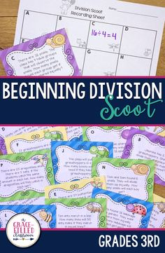 These task cards are a great way to practice division. Your students will have a blast scooting around the room while making equal groups and equal shares. It comes with 24 different cards for the students to practice. Plenty to use in a day or spread out throughout the week. This is the perfect way to get the students up and moving around the room but still working! They burn off energy and practice their division skills. Division Classroom Math Games 