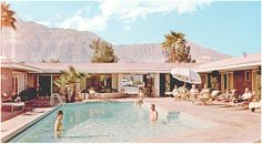 Splashes of aqua, chalky white and pink give this collection a vintage-chic look that embodies the spirit of Palm Springs. { Palm Springs F. Palm Springs Houses, Palm Springs Style, Algarve, California Dreamin', Cool Pools, Mid Century House, Swimming Pools, Places To Go, Vacation