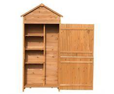 Outsunny - Rimessa per attrezzi Deposito per attrezzi Ripostiglio da giardino Casetta in legno per ricovero attrezzi 90x50x190