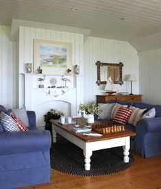 Cottage Style Living Room with Denim Blue Slipcover Sofas Cottage Style Living Room, Living Room Red, Beach Cottage Style, Coastal Living Rooms, Beach House Decor, Living Room Sofa, Living Room Furniture, Living Room Decor, Home Decor