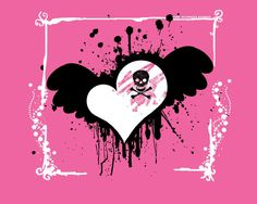 Simple Cute Pink Skull Wallpapers and Picture Pink Skull Wallpaper, Pink And Black Wallpaper, Heart Wallpaper, Dark Gothic Art, Gothic Fantasy Art, Fantasy Girl, Beatrix Potter, Betty Boop, Emo