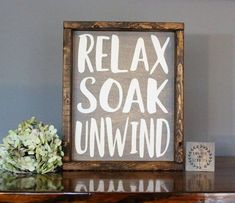 Looking for bathroom wall decor? This farmhouse bathroom sign relax soak unwind makes great addition to your farmhouse bathroom room decor and are perfect for rustic bathroom decor. Every bathroom sign is made with great attention to detail from start to Bathroom Decor Signs, Rustic Bathroom Decor, Rustic Bathrooms, Diy Wall Decor, Rustic Decor, Home Decor, Bathroom Ideas, Bohemian Bathroom, Narrow Bathroom