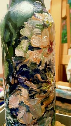 Impressionism by Impressionist FineArtist TuckerDemps.  Original oil on glass bottle.