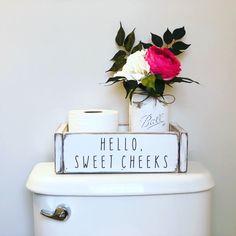 Hello Sweet Cheeks Box / Wood Toilet Paper Storage / White Bathroom Decor / Toilet Storage Box / Farmhouse Toilet Paper Holder / Nice Butt - New Ideas Bathroom Box, White Bathroom Decor, Boho Bathroom, Bathroom Humor, Bathroom Signs, Bathroom Ideas, Bathroom Storage, Master Bathroom, Bathroom Shelves