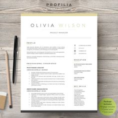 Word Resume & Cover letter Template by Profilia Resume Boutique on Ready for Print Resume template examples creative design and great covers, perfect in modern and stylish corporate… Cv Template Word, Resume Cover Letter Template, Resume Template Examples, Creative Resume Templates, Letter Templates, Templates Free, Design Templates, Simple Resume Template, Cv Examples