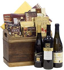 Wine Trio Gift Basket: Three bottles of fine wine with assorted chocolate, cookies and candy, $289.00 #weddings #gifts #1877spirits #wine