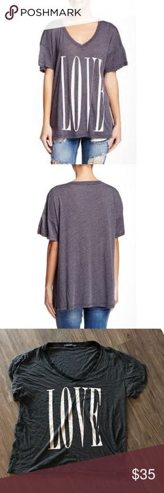"""WILDFOX LOVE VNECK TEE Details - V-neck - Short sleeves - Front text print - Oversized fit - Approx. 24"""" length - Made in USA Fiber Content 50% polyester, 50% cotton Care Hand or machine wash cold Wildfox Tops Tees - Short Sleeve"""
