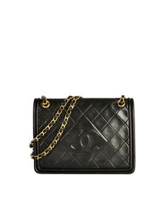 69446701d99 Chanel Vintage Black Lambskin Leather Quilted CC Logo Bag