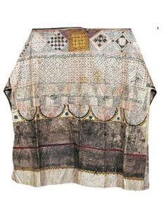 'Tılsımlı Gömlek / Talismaic shirt'. Collarless shirt made of white, tightly-woven and thin linen. Decorated with various suras and verses from the Koran, together with magical letters and numbers used in forecasting the future. Ottoman, 15th or 16th century.
