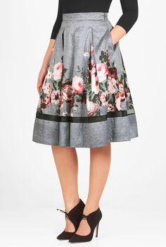 $68 | Beautiful botanicals pattern our full, box-pleat skirt cut from polydupioni with a sheer tulle insert at the hem.
