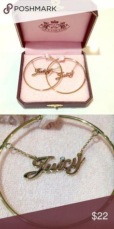"""Juicy Couture gold hoop earrings Juicy couture hoop earrings. 2"""" diameter, gold, rhinestone in the """"i"""" in juicy.  New in box. Juicy Couture Jewelry Earrings"""