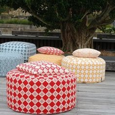 Seating area for meetings and sketching. -Bell Beach Calippo Round Outdoor Ottoman by Furniture Runway Poolside Furniture, Garden Furniture, Outdoor Furniture, Art Loft, Homewares Online, Pool Houses, Outdoor Fabric, Soft Furnishings, Outdoor Living