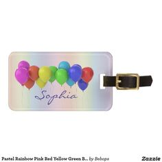 Pastel Rainbow Pink Red Yellow Green Blue Balloons Tag For Luggage