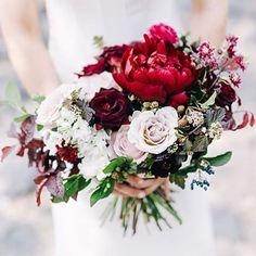 Burgundy, blush, black, nude, and fleshtoned wedding bouquet with peonies…