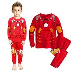 Stylish Baby boys pajamas suits cotton Red Iron man Boy T-shirt + Pants 2pieces payama sets child clothes free ship pijamas $50.00