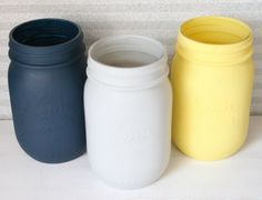 Painted Mason Jars - Navy, Grey, and Yellow Painted Mason Jars- Wedding Decor- Baby Shower Decor- Home Decor- Housewares